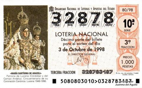 Décimo de Lotería Nacional de 1998 Sorteo 80 - <b>«MARÍA SANTÍSIMA DE ARACELI»</b>