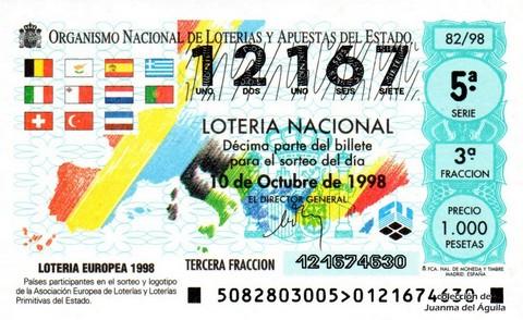Décimo de Lotería Nacional de 1998 Sorteo 82 - <b>LOTERIA EUROPEA 1998</b>