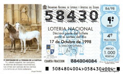 Décimo de Lotería Nacional de 1998 Sorteo 84 - <b>5º CENTENARIO DE LA YEGUADA DE LA CARTUJA</b>
