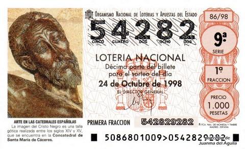 Décimo de Lotería Nacional de 1998 Sorteo 86 - <b>ARTE EN LAS CATEDRALES ESPAÑOLAS</b> - IMAGEN DEL CRISTO NEGRO