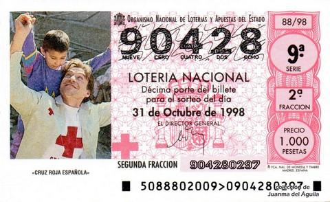Décimo de Lotería Nacional de 1998 Sorteo 88 - <b>«CRUZ ROJA ESPAÑOLA»</b>