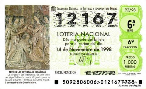 Décimo de Lotería Nacional de 1998 Sorteo 92 - <b>ARTE EN LAS CATEDRALES ESPAÑOLAS</b> - LA VIRGEN Y SAN ILDEFONSO (SIGLO XVII)