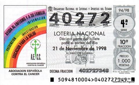 Décimo de Lotería Nacional de 1998 Sorteo 94 - <b>ASOCIACION ESPAÑOLA CONTRA EL CANCER</b>