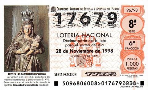 Décimo de Lotería Nacional de 1998 Sorteo 96 - <b>ARTE EN LAS CATEDRALES ESPAÑOLAS</b> - LA VIRGEN CON EL NIÑO (S. XVI)