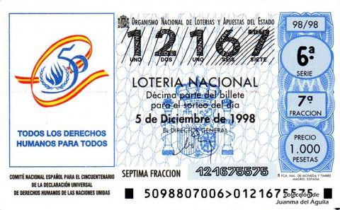 Décimo de Lotería Nacional de 1998 Sorteo 98 - <b>TODOS LOS DERECHOS HUMANOS PARA TODOS</b>