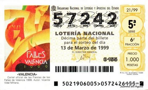 Décimo de Lotería 1999 / 21