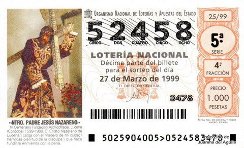 Décimo de Lotería 1999 / 25