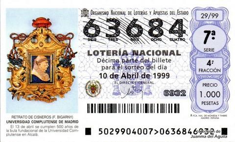 Décimo de Lotería 1999 / 29