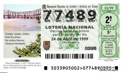 Décimo de Lotería 1999 / 33