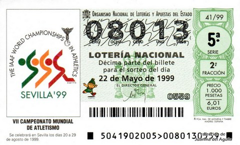 Décimo de Lotería 1999 / 41