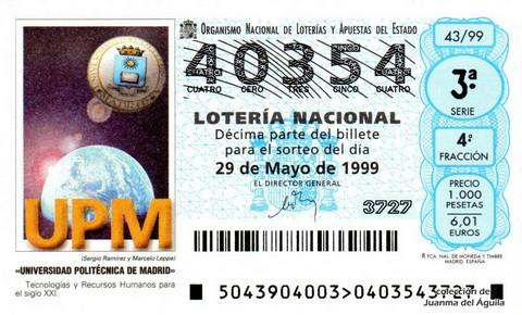Décimo de Lotería 1999 / 43