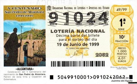 Décimo de Lotería 1999 / 49