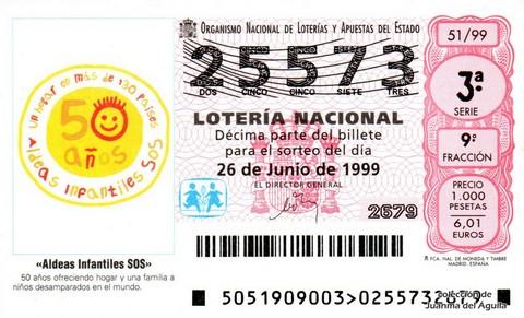 Décimo de Lotería 1999 / 51