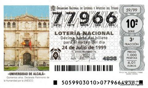 Décimo de Lotería 1999 / 59