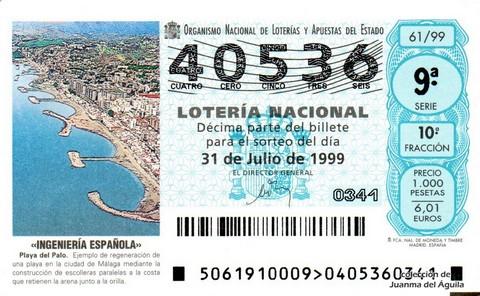 Décimo de Lotería 1999 / 61