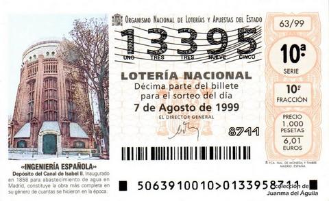 Décimo de Lotería 1999 / 63