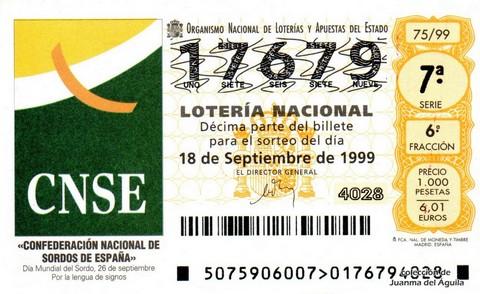 Décimo de Lotería 1999 / 75