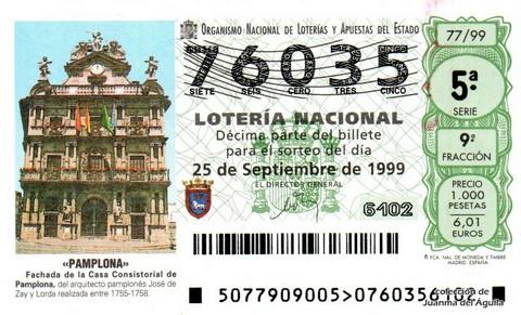 Décimo de Lotería 1999 / 77