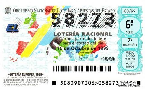 Décimo de Lotería 1999 / 83