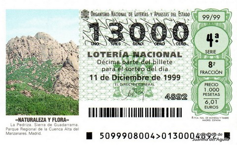 Décimo de Lotería 1999 / 99