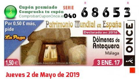 Cupón ONCE premiado el Martes 3/1/2017