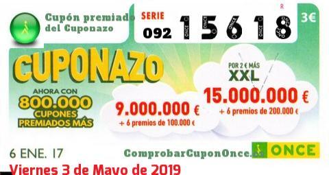 Cuponazo ONCE premiado el Viernes 6/1/2017