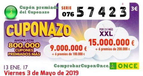 Cuponazo ONCE premiado el Viernes 13/1/2017