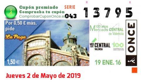 Cupón ONCE premiado el Jueves 19/1/2017
