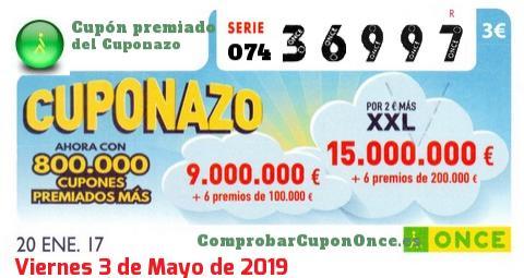 Cuponazo ONCE premiado el Viernes 20/1/2017