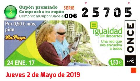 Cupón ONCE premiado el Martes 24/1/2017