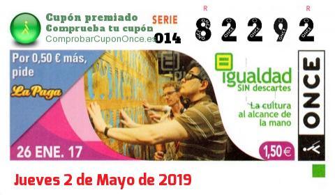 Cupón ONCE premiado el Jueves 26/1/2017