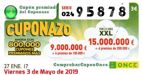 Cuponazo ONCE premiado el Viernes 27/1/2017