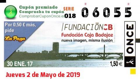 Cupón ONCE premiado el Lunes 30/1/2017