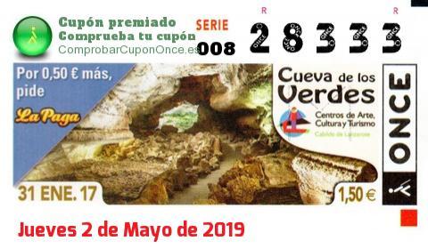Cupón ONCE premiado el Martes 31/1/2017