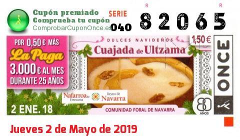 Cupón ONCE premiado el Martes 2/1/2018