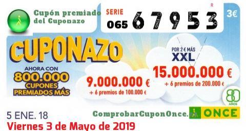 Cuponazo ONCE premiado el Viernes 5/1/2018