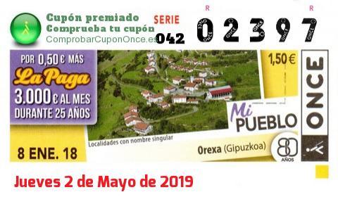 Cupón ONCE premiado el Lunes 8/1/2018