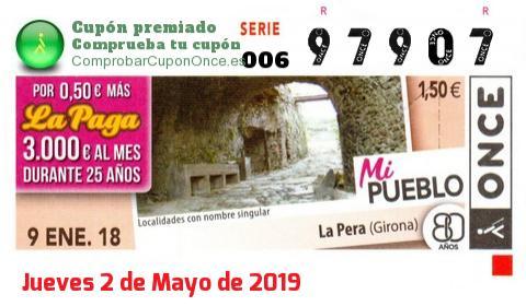 Cupón ONCE premiado el Martes 9/1/2018