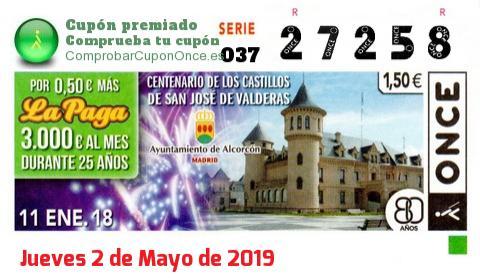 Cupón ONCE premiado el Jueves 11/1/2018