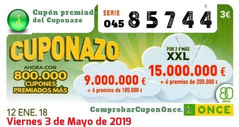 Cuponazo ONCE premiado el Viernes 12/1/2018