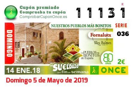 Sueldazo ONCE premiado el Domingo 14/1/2018