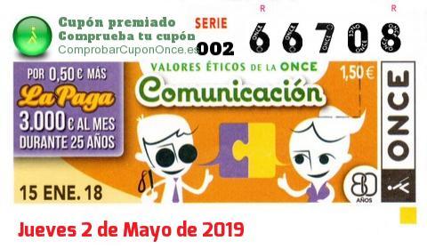 Cupón ONCE premiado el Lunes 15/1/2018
