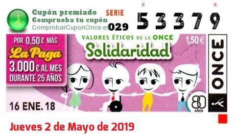 Cupón ONCE premiado el Martes 16/1/2018