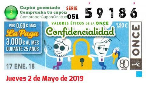 Cupón ONCE premiado el Miercoles 17/1/2018