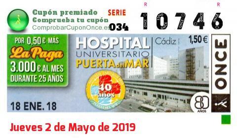 Cupón ONCE premiado el Jueves 18/1/2018