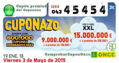 Cuponazo ONCE premiado el Viernes 19/1/2018