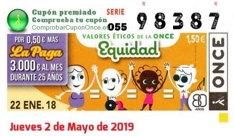 Cupón ONCE premiado el Lunes 22/1/2018