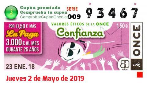 Cupón ONCE premiado el Martes 23/1/2018