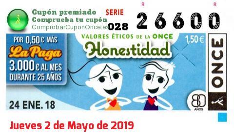 Cupón ONCE premiado el Miercoles 24/1/2018