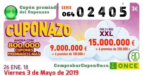 Cuponazo ONCE premiado el Viernes 26/1/2018